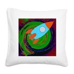 Rocket Green Square Canvas Pillow