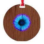 Blue Flower on Wood Ornament