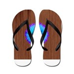 Blue Flower on Wood Flip Flops