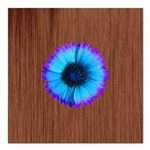 Blue Flower on Wood Square Car Magnet 3