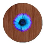 Blue Flower on Wood Round Car Magnet