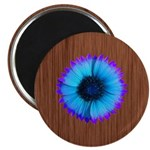Blue Flower on Wood Magnets