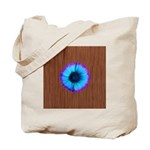 Blue Flower on Wood Tote Bag
