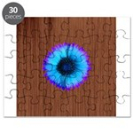 Blue Flower on Wood Puzzle