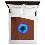 Blue Flower on Wood Queen Duvet