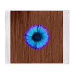 Blue Flower on Wood Throw Blanket