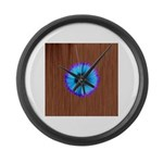 Blue Flower on Wood Large Wall Clock