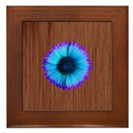 Blue Flower on Wood Framed Tile