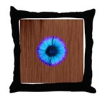 Blue Flower on Wood Throw Pillow