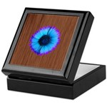 Blue Flower on Wood Keepsake Box