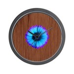 Blue Flower on Wood Wall Clock