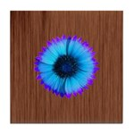 Blue Flower on Wood Tile Coaster