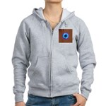 Blue Flower on Wood Zip Hoodie