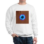 Blue Flower on Wood Sweatshirt