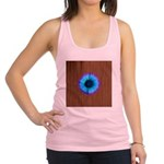 Blue Flower on Wood Racerback Tank Top
