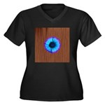 Blue Flower on Wood Plus Size T-Shirt