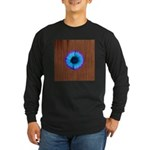 Blue Flower on Wood Long Sleeve T-Shirt