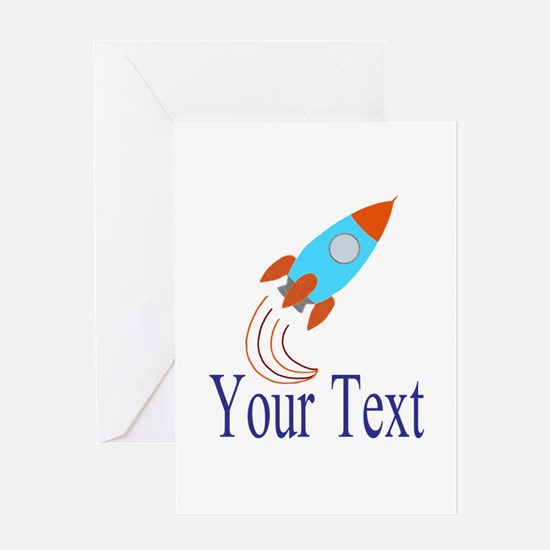 Rocket Ship Personalizable Greeting Cards