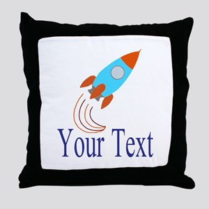 Rocket Ship Personalizable Throw Pillow