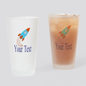 Rocket Ship Personalizable Drinking Glass
