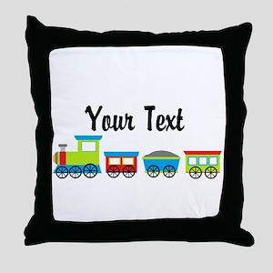 Personalizable Choo Choo Train Throw Pillow