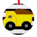 Dump Truck Black and White Ornament