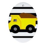 Dump Truck Black and White Ornament (Oval)