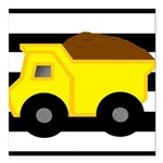 Dump Truck Black and White Square Car Magnet 3