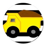 Dump Truck Black and White Round Car Magnet