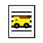 Dump Truck Black and White Framed Panel Print