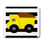 Dump Truck Black and White Mousepad