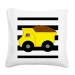 Dump Truck Black and White Square Canvas Pillow
