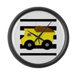 Dump Truck Black and White Large Wall Clock