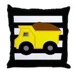 Dump Truck Black and White Throw Pillow