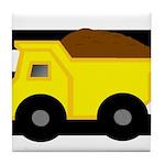 Dump Truck Black and White Tile Coaster