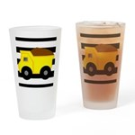 Dump Truck Black and White Drinking Glass