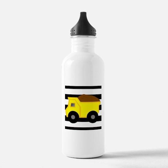 Dump Truck Black and White Water Bottle