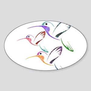 Patchwork Trio of Hummingbird Sticker