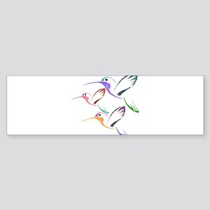 Patchwork Trio of Hummingbirds Bumper Sticker