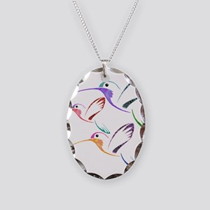 Patchwork Trio of Hummingbirds Necklace Oval Charm