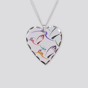 Patchwork Trio of Hummingbird Necklace Heart Charm