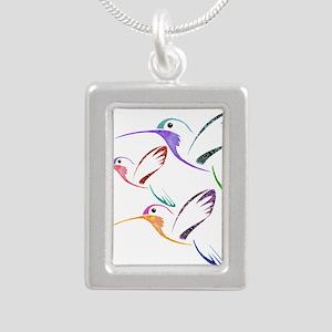 Patchwork Trio of Hummingbirds Necklaces