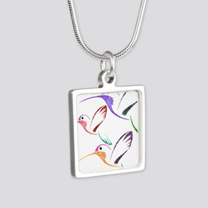 Patchwork Trio of Hummingbirds Necklaces