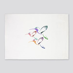 Patchwork Trio of Hummingbirds 5'x7'Area Rug