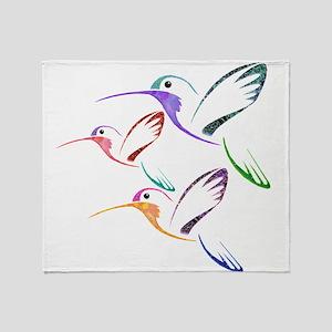 Patchwork Trio of Hummingbirds Throw Blanket