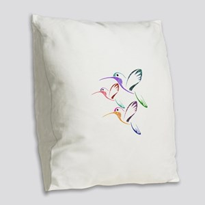 Patchwork Trio of Hummingbirds Burlap Throw Pillow