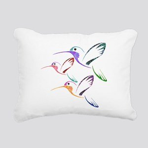 Patchwork Trio of Hummin Rectangular Canvas Pillow