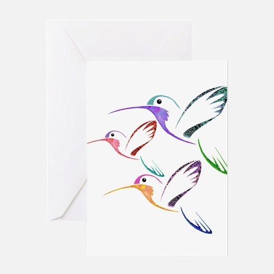 Patchwork Trio of Hummingbirds Greeting Cards