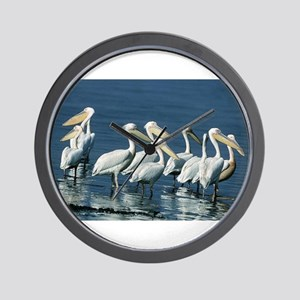 Pack of Pelicans Wall Clock