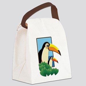 Mom and Baby Toucans in Tropical Canvas Lunch Bag